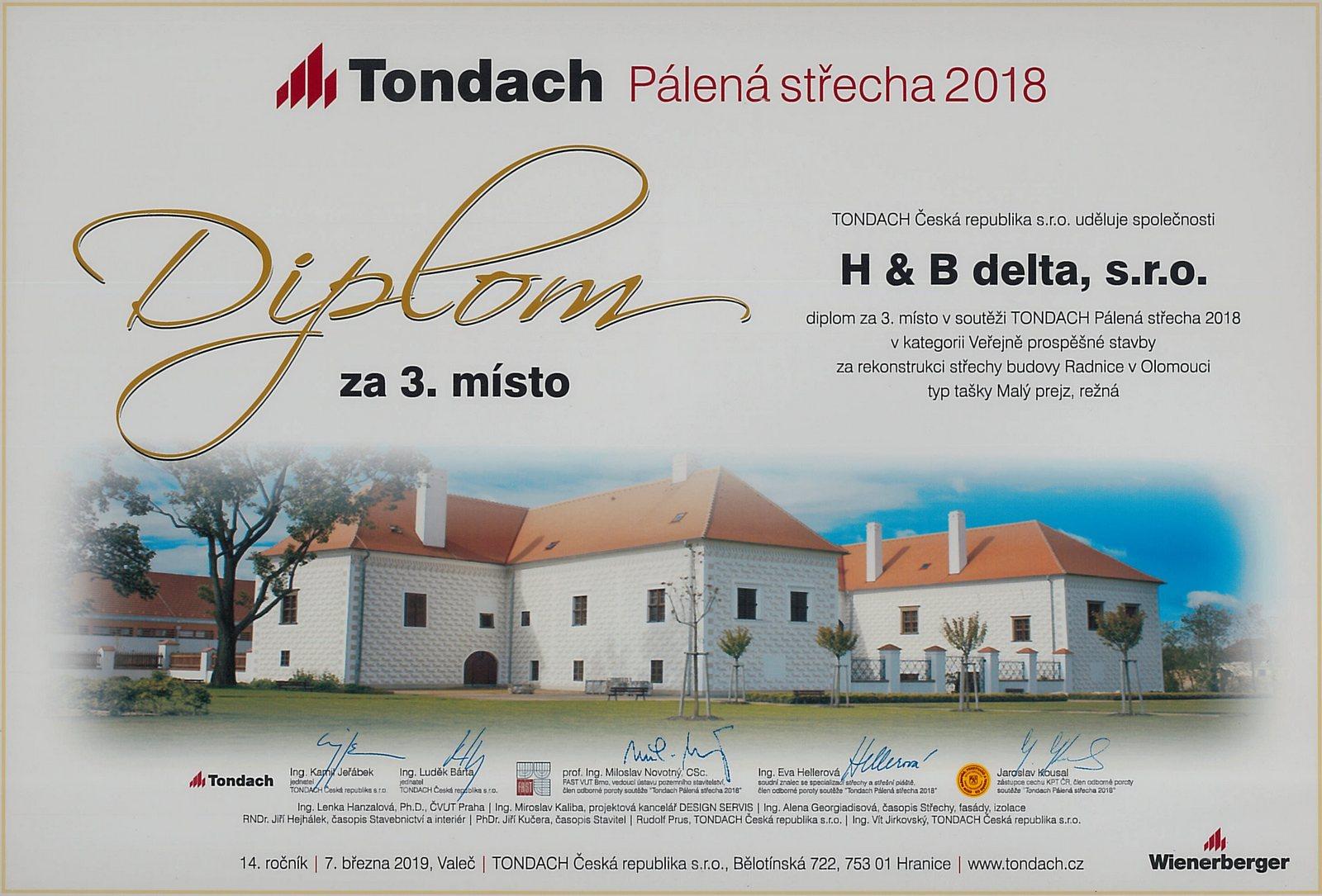 Tondach Pálená střecha 2018 - 3. místo v kategorii Veřejně prospěšné stavby