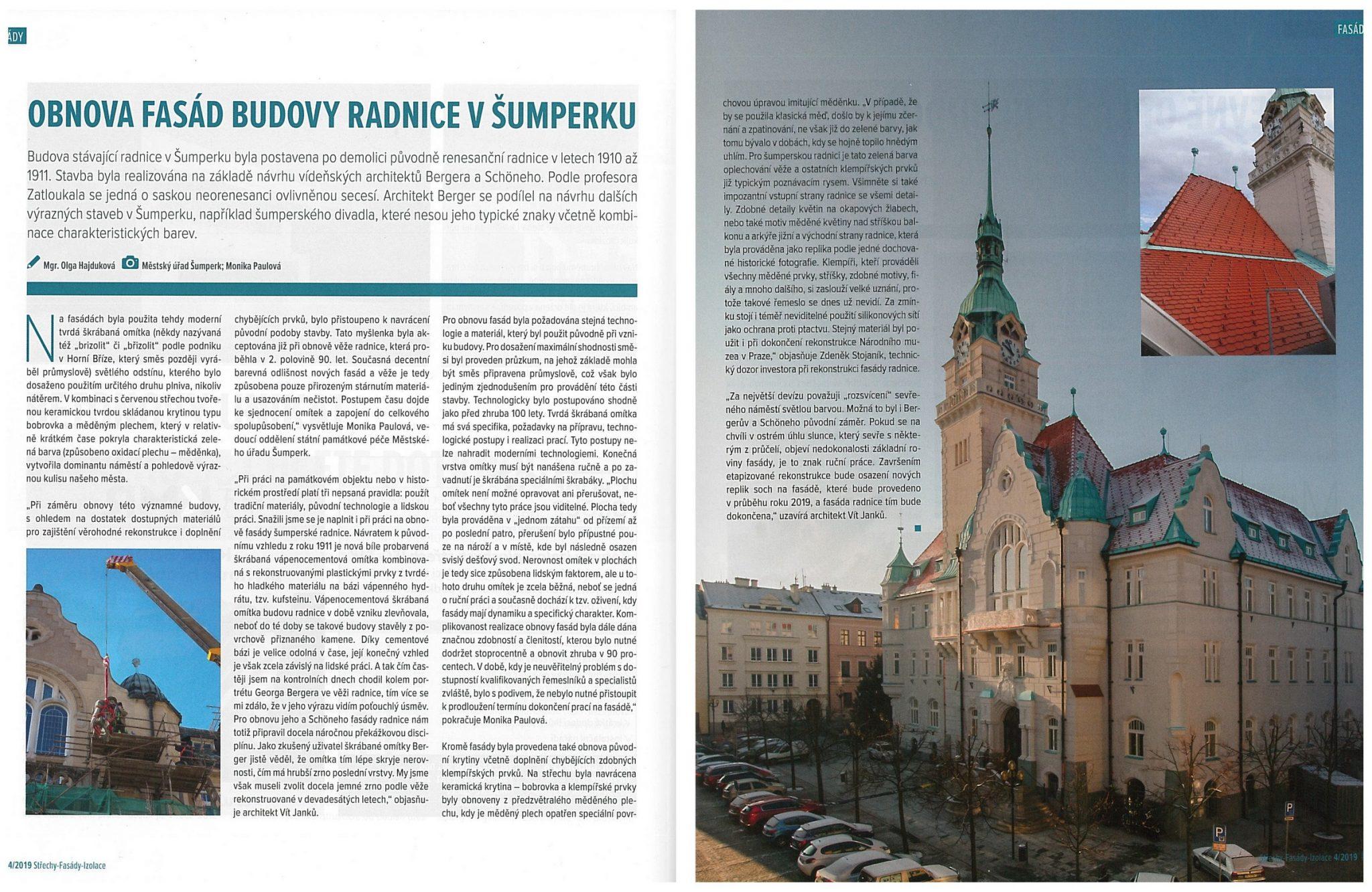Obnova fasád budovy radnice v Šumperku